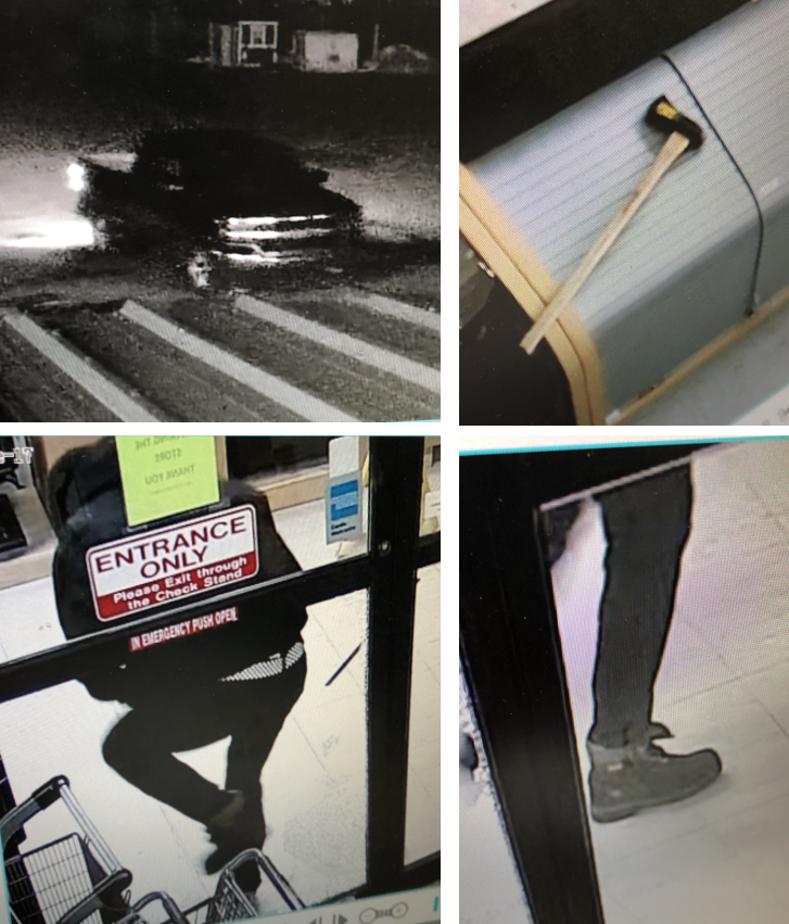 Image of a black pick up truck, hammer, and the tennis shoes used and worn by the person of interest