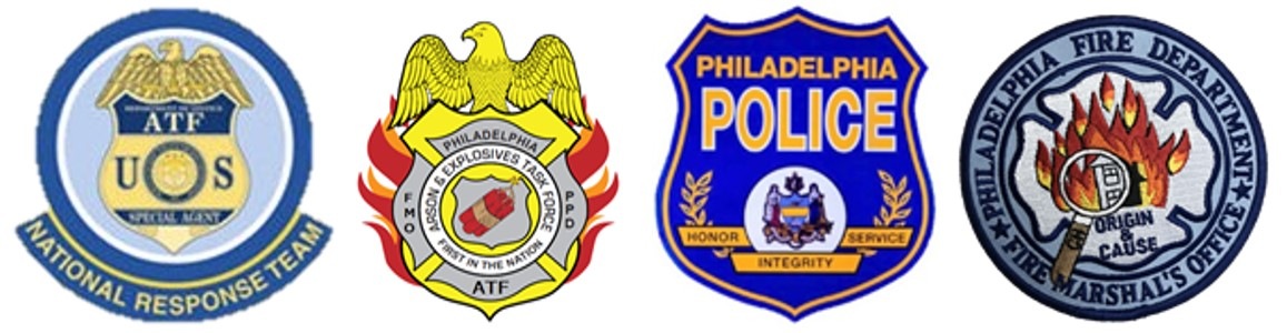 The seals of the ATF National Response Team, ATF Philadelphia Arson and Explosives Task Force, Philadelphia Police Department, and Philadelphia Fire Department Fire Marshal's Office