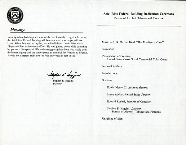 Image of the Ariel Rios Federal Building Dedication Ceremony program - Page 2 & 3