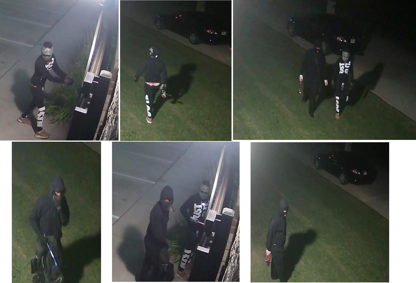 Tres sospechosos enmascarados, vestidos de negro, querían por irrumpir en Marksmen Firearms