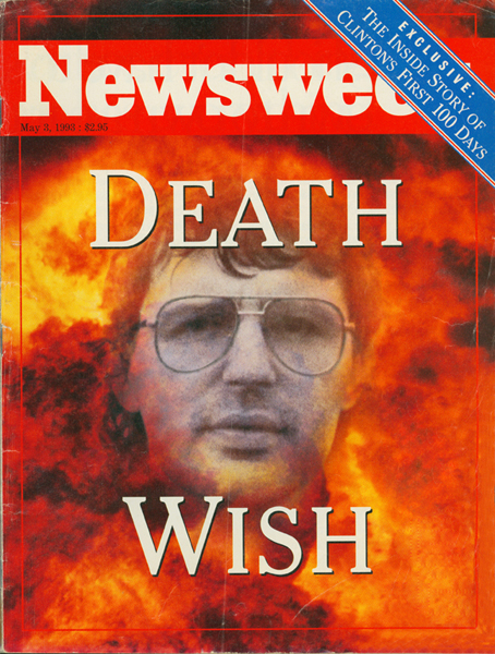 David Koresh surrounded by flames on the cover of Newsweek magazine, dated May 3, 1993.