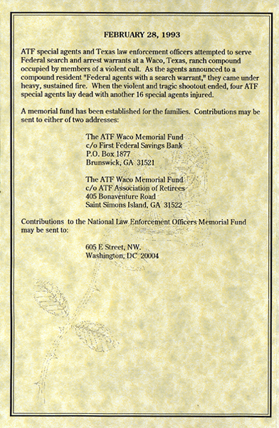 Memorial Service Program with the history of those killed on February 28, 1993 (2 of 4)