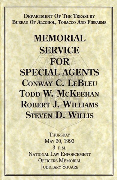 Cover of Memorial Service Program for special agents killed in Waco (1 of 4)