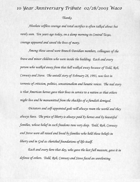 Waco Ten Year Anniversary Tribute Speech, February 28, 2003 (1 of 3)