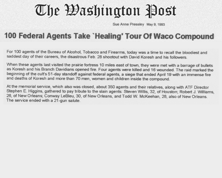 The Washington Post article, dated May 9, 1933, with the headline 100 Federal Agents Take Healing Tour of Waco Compound