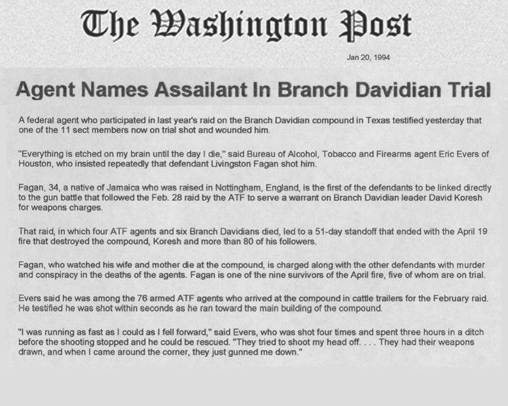 The Washington Post article, dated January 20, 1994, with the headline Agent Names Assailant in Branch Davidian Trial