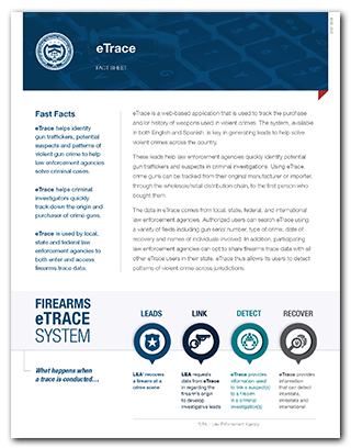 Preview of the eTrace Fact Sheet PDF for print.