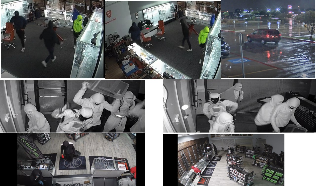 Four to five unidentified individuals in the processes of stealing firearms from three different FFLs.