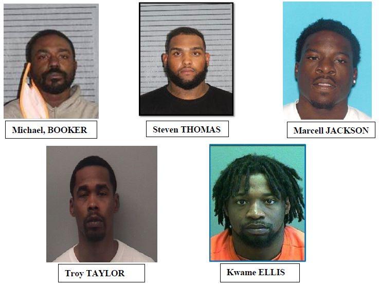 Mug shots of Michael Booker, Steven Thomas, Marcell Jackson, Troy Taylor and Kwame Ellis