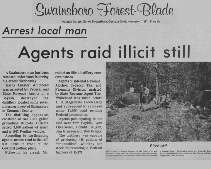 The Swainsboro Forest-Blade news article, dated November 17, 1971, with the headline, Arrest Local Man Agents Raid Illicit Still