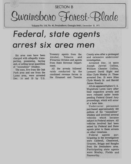 Swainsboro Forest-Blade news article, dated December 22, 1971, with the headline, Federal, state agents arrest six area men.