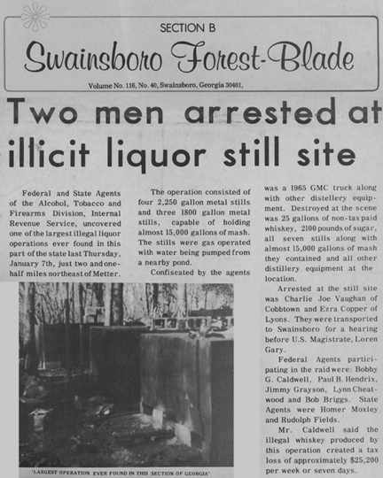Swainsboro Forest-Blade with headline, Two Men Arrested at Illicit Liquor Still Site