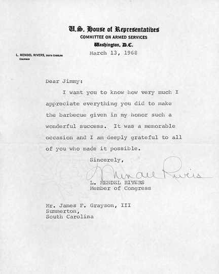 Letter from Congressman L. Mendel Rivers thanking James Grayson, III for the barbecue given in his honor.