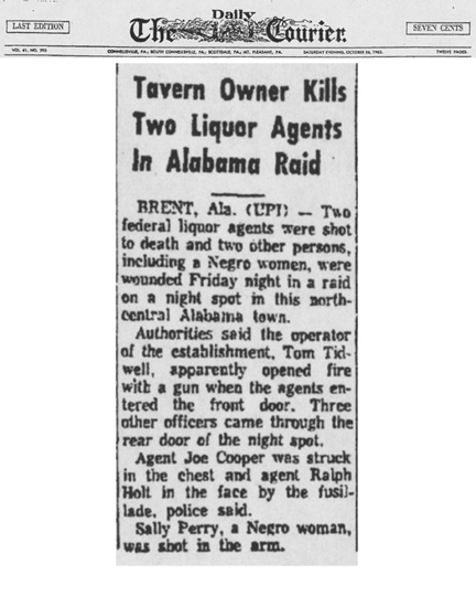 Newspaper article with the headline, Tavern Owner Kills Two Liquor Agents in Alabama Raid