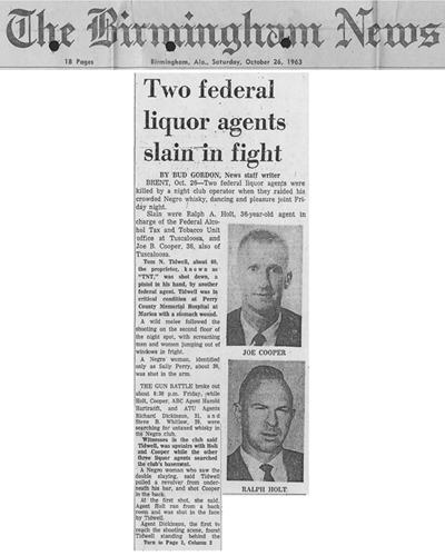 The Birmingham News article with headline, Two Federal Liquor Agents Slain in Fight