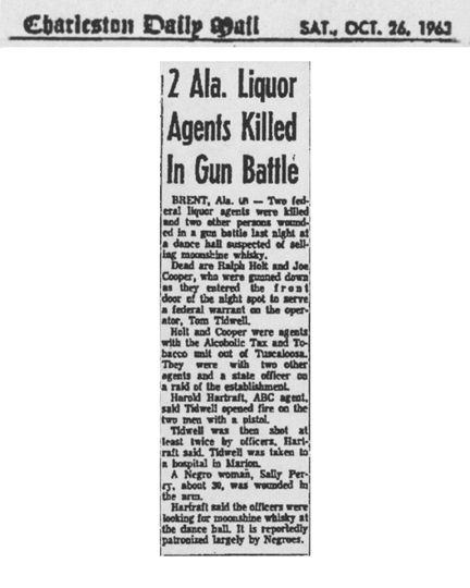 Charleston Daily Mail, dated Saturday, October 26, 1963, with the headline, Two Alabama Liquor Agents Killed in Gun Battle