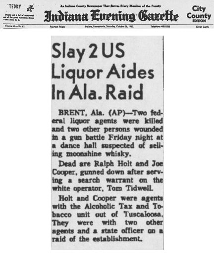 Indiana Evening Gazette newspaper article with the headline, Slay 2 U.S. Liquor Aides in Alabama Raid