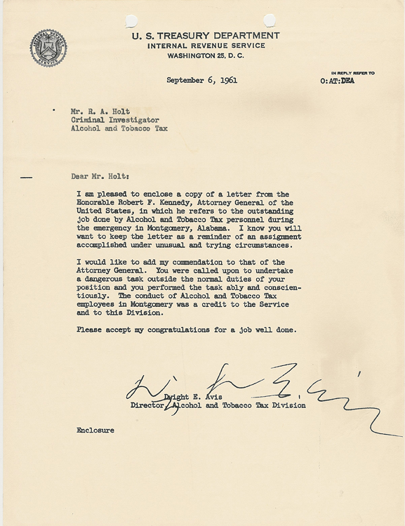 Commendation letter to Ralph Holt from the director of the Alcohol and Tobacco Tax Division, Dwight E Avis