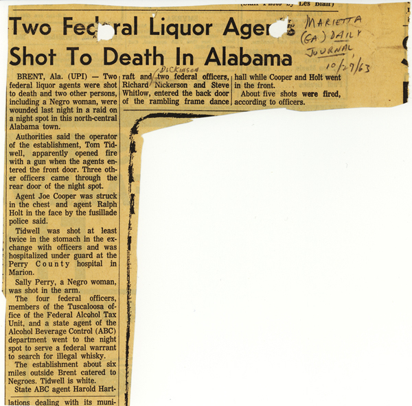 Marietta Daily Journal article with headline, Two Federal Liquor Agents Shot to Death in Alabama