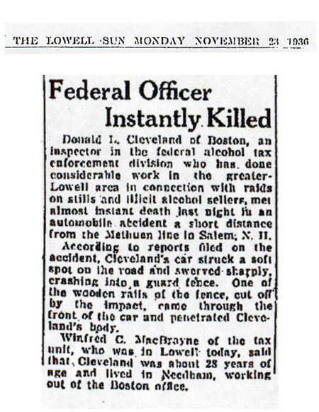 Newspaper article from The Lowell, dated November 23, 1936, with headline: Federal Officer Instantly Killed