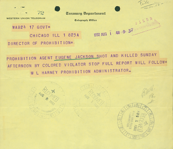 Telegram regarding the death of Agent Eugene Jackson
