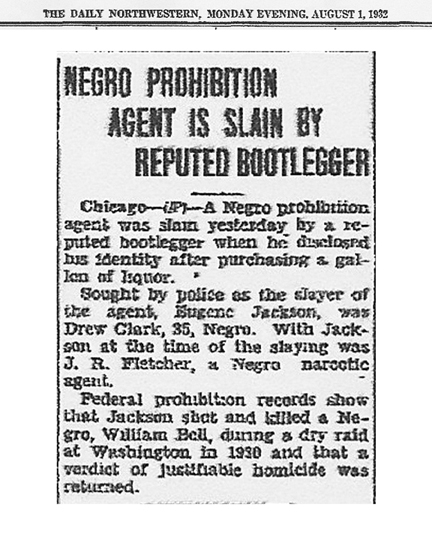 The Daily Northwestern, dated August 1, 1932, with headline: Negro Prohibition Agent is Slain by Reputed Bootlegger