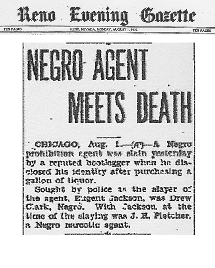 Reno Evening Gazette, dated August 1, 1932, with headline: Negro Agent Meets Death