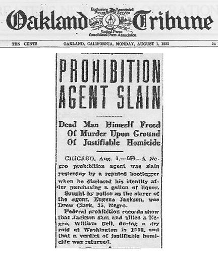 Oakland Tribune, dated August 1, 1932, with headline: Prohibition Agent Slain