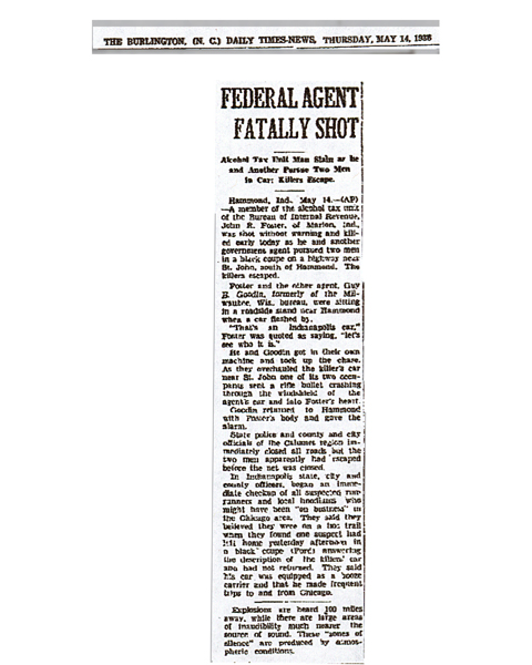 Newspaper article from The Burlington, dated May 14, 1936, with headline: Federal Agent Fatally Shot