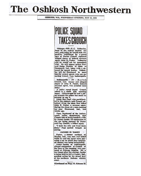 Newspaper article from The Oshkosh Northwestern, with headline: Police Squad Takes Crouch