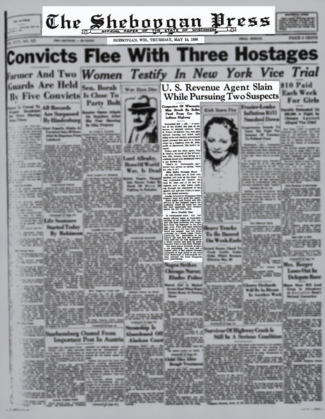 Newspaper article from The Sheboggan Press with headline: Convicts Flee With Three Hostages
