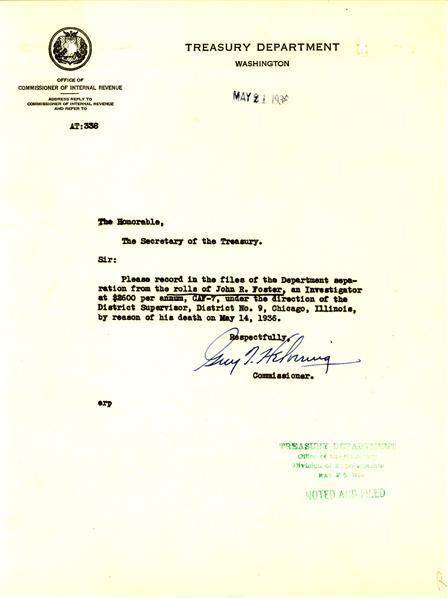 Work Memorandum removing John Foster from the rolls
