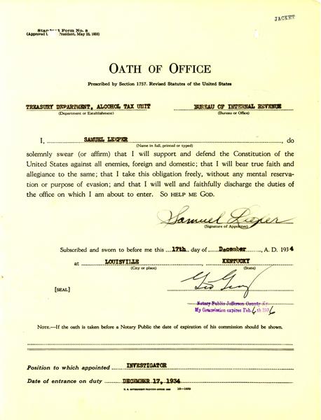 Oath of Office for Samuel Leeper, dated December 17, 1934
