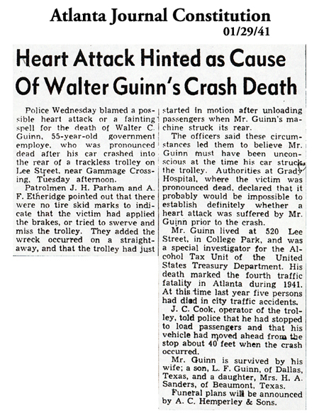 Newspaper article in Atlanta Journal Constitution, dated January 1, 1941, with headline: Heart Attack Hinted as Cause of Walter Guinn's Crash Death