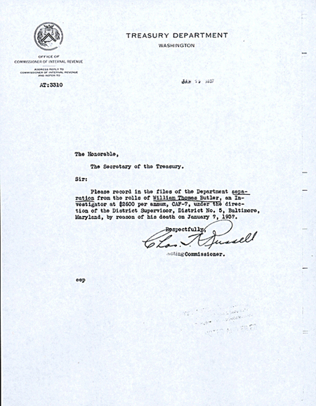 Memorandum to the file removing William Butler from roll