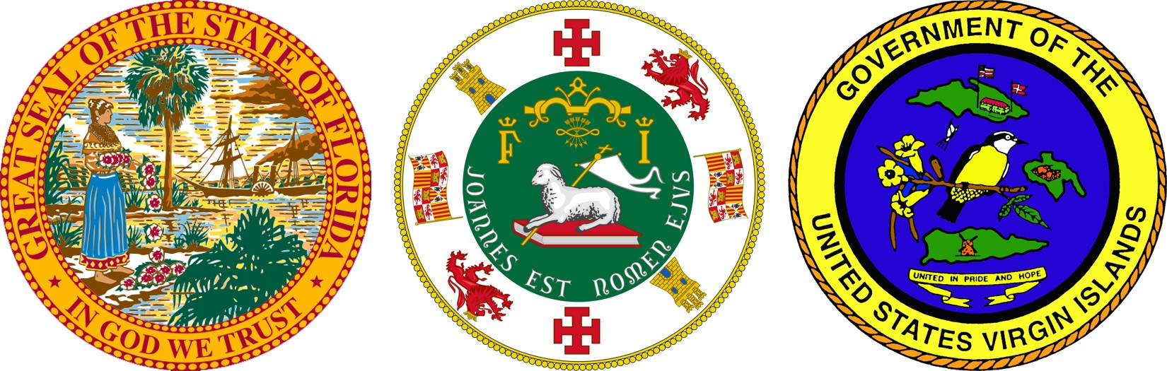 State Seals of Florida, Puerto Rico, and the Virgin Islands