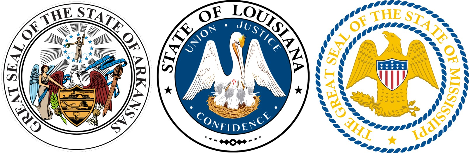 State seals for Arkansas, Louisiana, and Mississippi