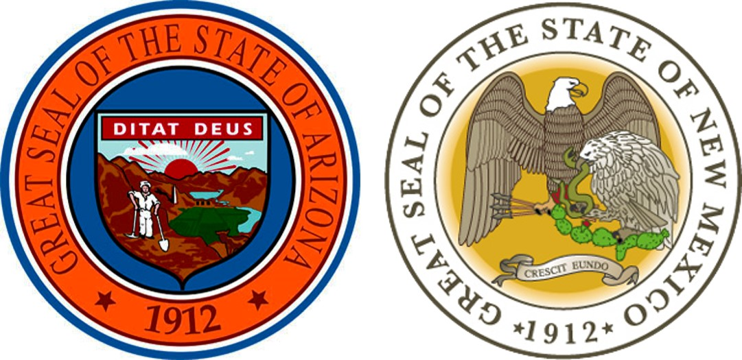 State seals for Arizona and New Mexico