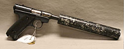 Image of a Ruger Standard 22cal with silencer