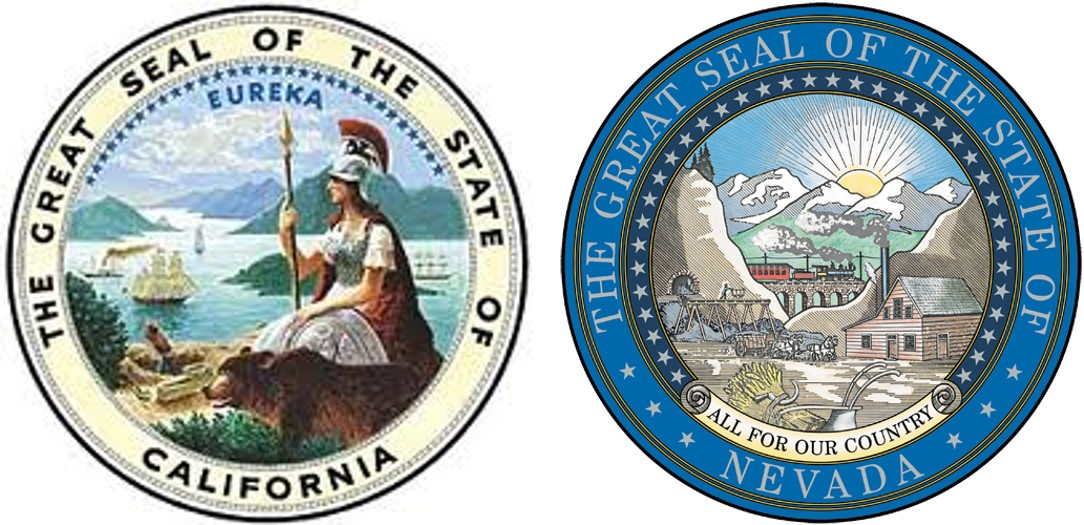 State seals of California and Nevada.